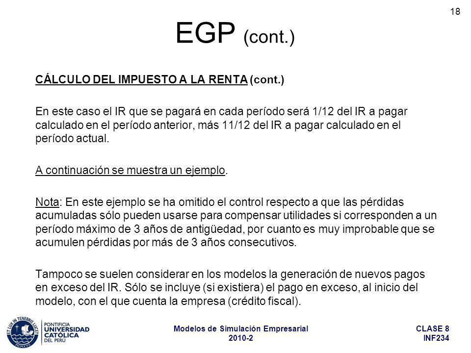 EGP (cont.) CÁLCULO DEL IMPUESTO A LA RENTA (cont.)