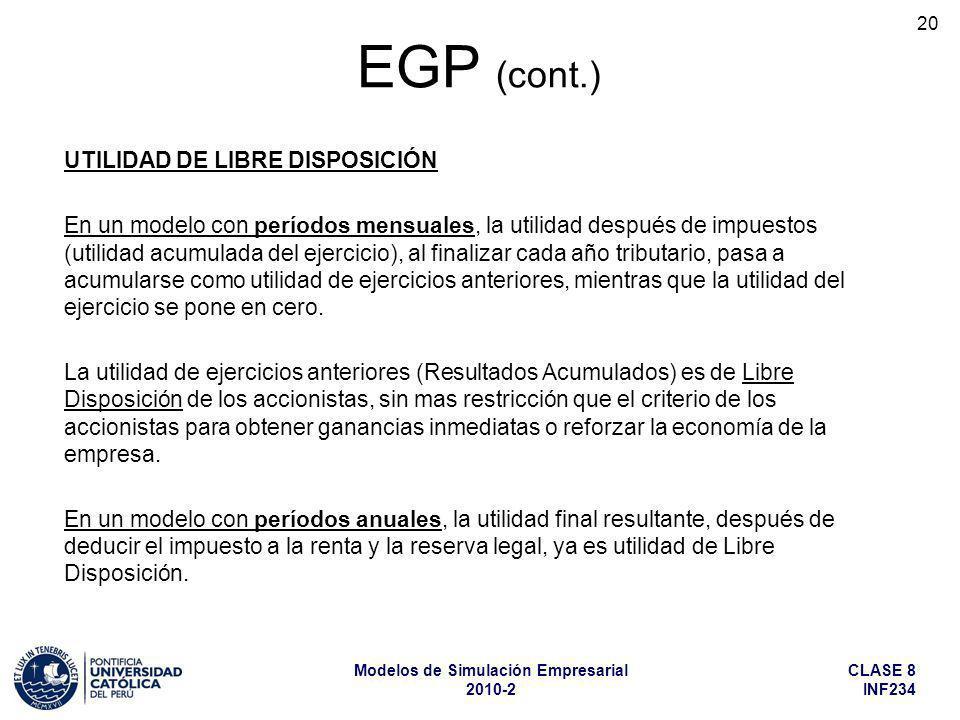 EGP (cont.) UTILIDAD DE LIBRE DISPOSICIÓN