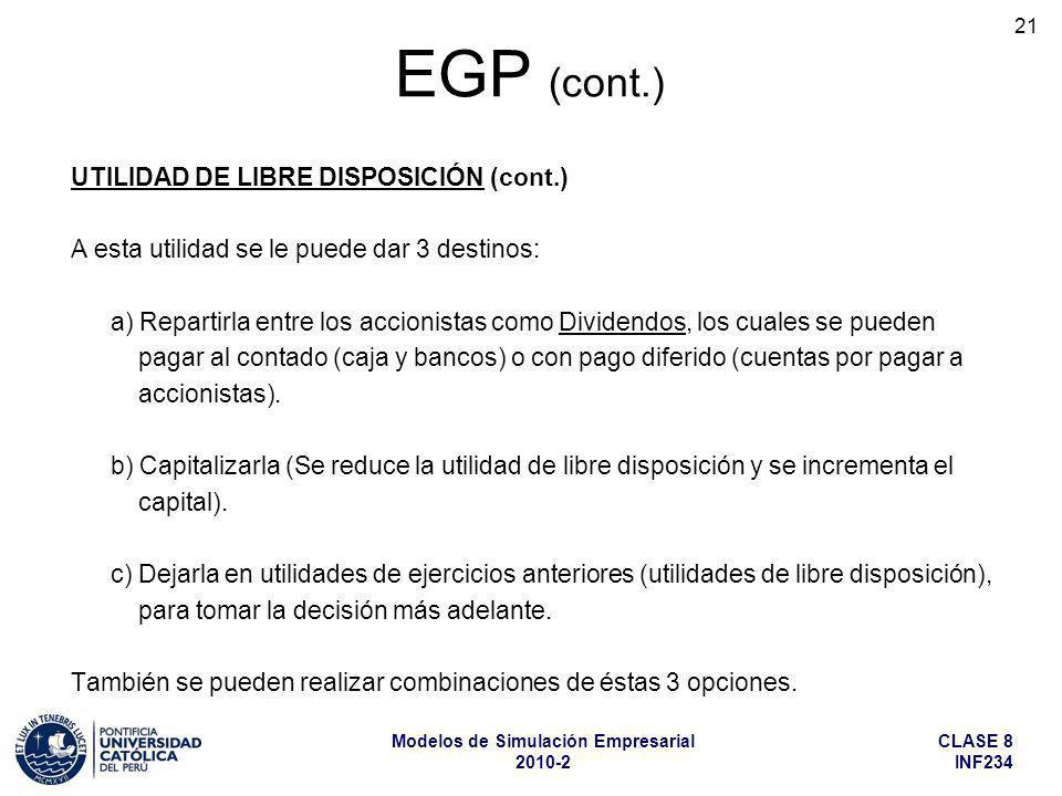 EGP (cont.) UTILIDAD DE LIBRE DISPOSICIÓN (cont.)