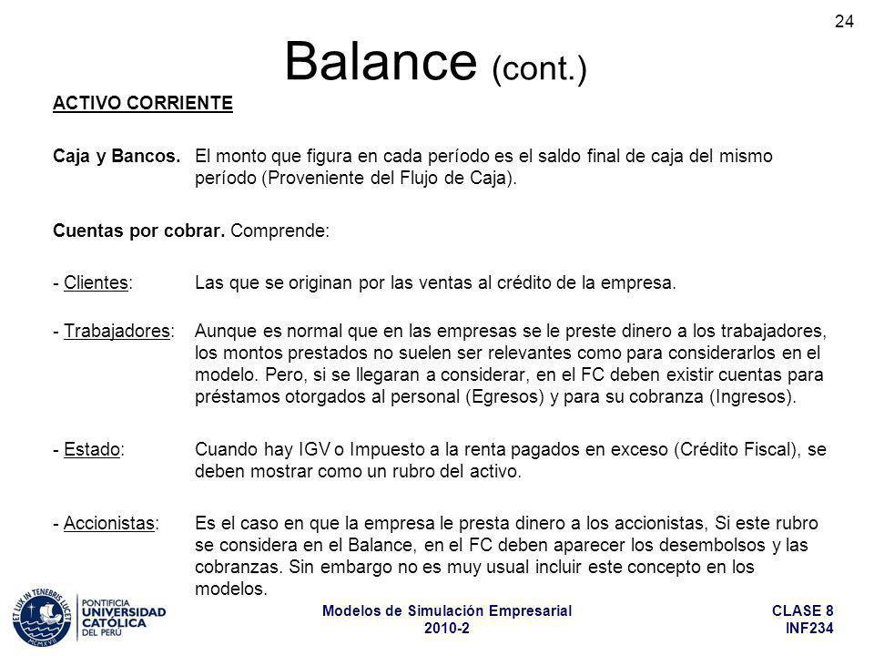 Balance (cont.) ACTIVO CORRIENTE