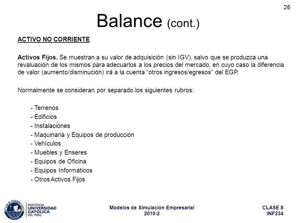 Balance (cont.) ACTIVO NO CORRIENTE