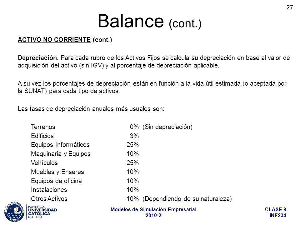 Balance (cont.) ACTIVO NO CORRIENTE (cont.)