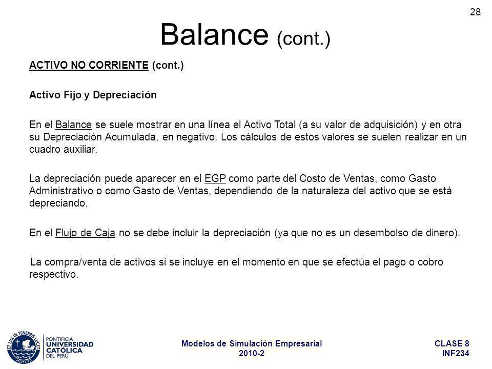 Balance (cont.) ACTIVO NO CORRIENTE (cont.) Activo Fijo y Depreciación