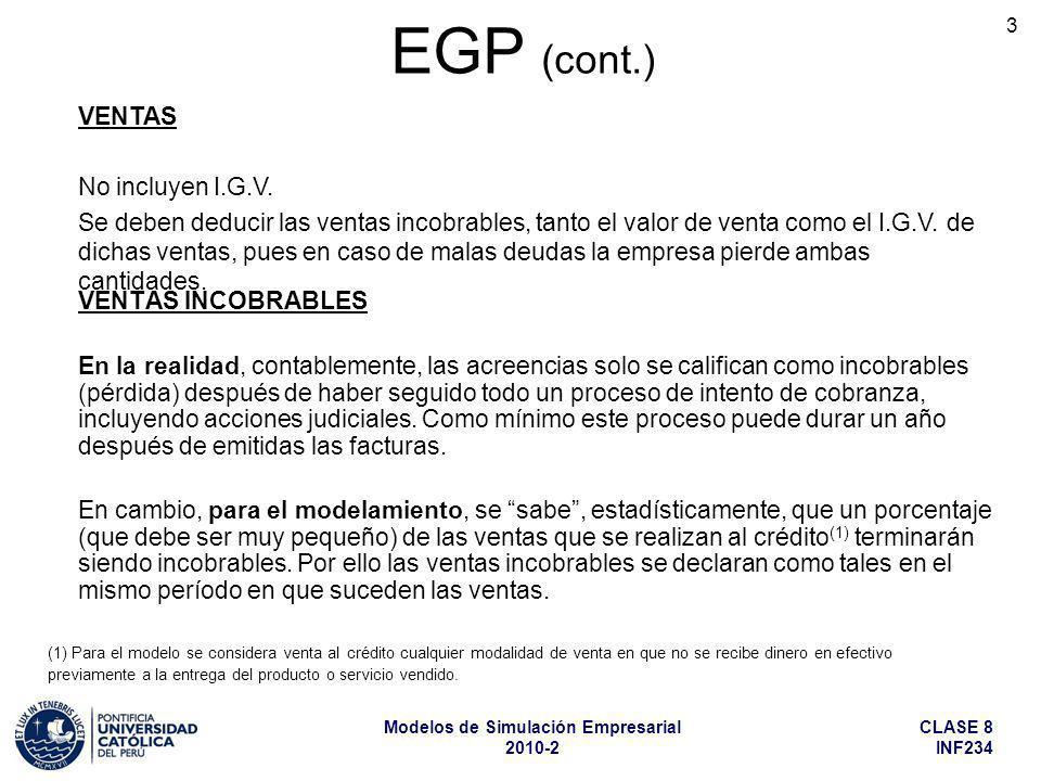 EGP (cont.) VENTAS No incluyen I.G.V.