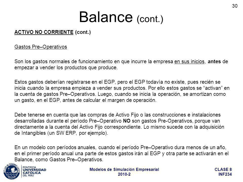 Balance (cont.) ACTIVO NO CORRIENTE (cont.) Gastos Pre–Operativos