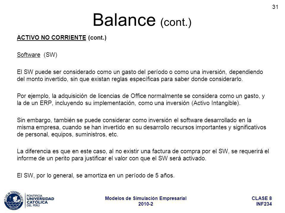 Balance (cont.) ACTIVO NO CORRIENTE (cont.) Software (SW)