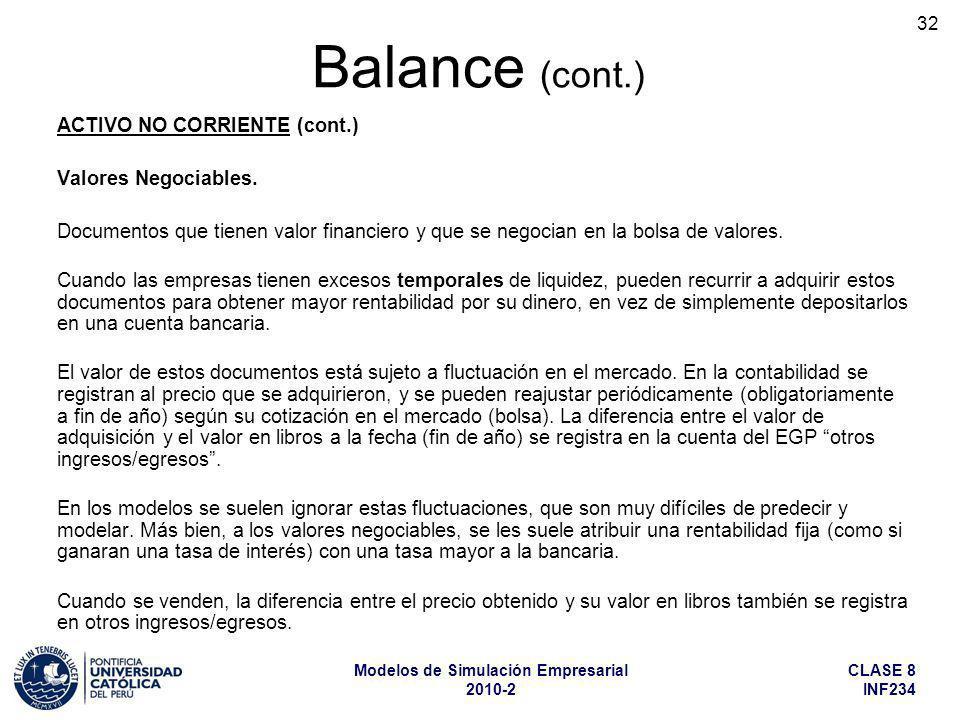 Balance (cont.) ACTIVO NO CORRIENTE (cont.) Valores Negociables.