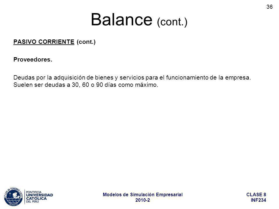 Balance (cont.) Proveedores.