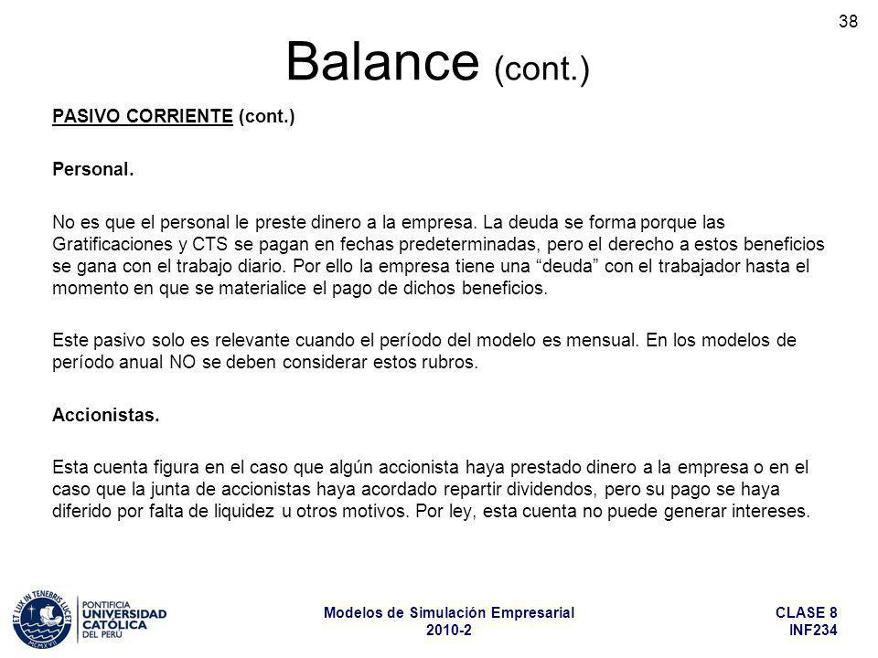 Balance (cont.) PASIVO CORRIENTE (cont.) Personal.