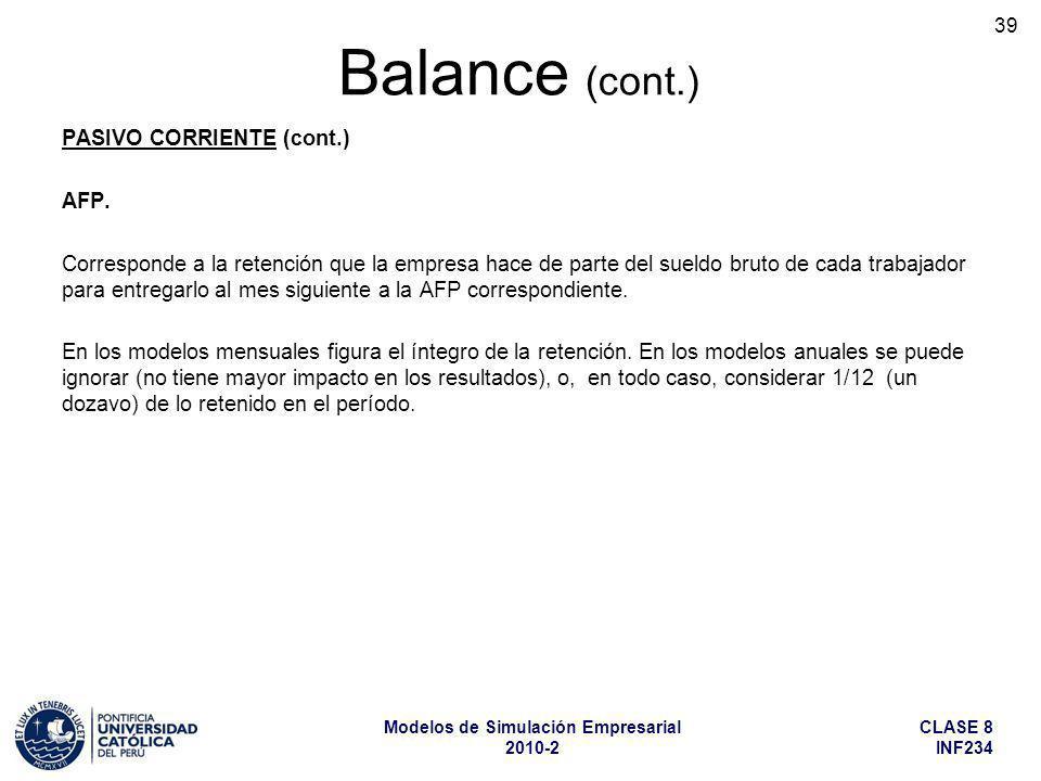 Balance (cont.) PASIVO CORRIENTE (cont.) AFP.