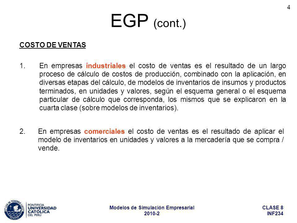 EGP (cont.) COSTO DE VENTAS