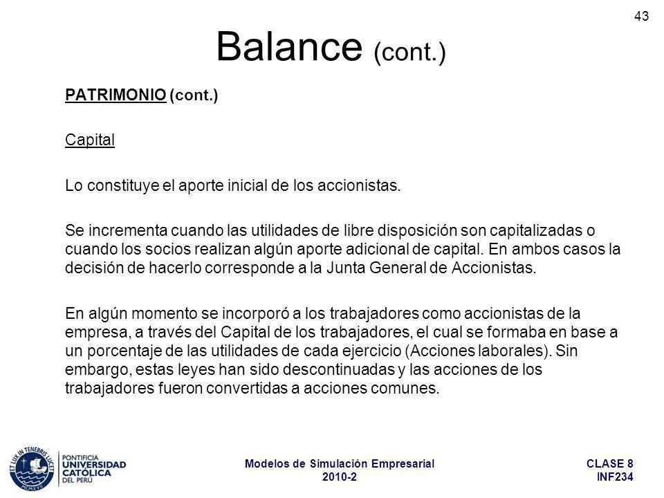 Balance (cont.) PATRIMONIO (cont.) Capital