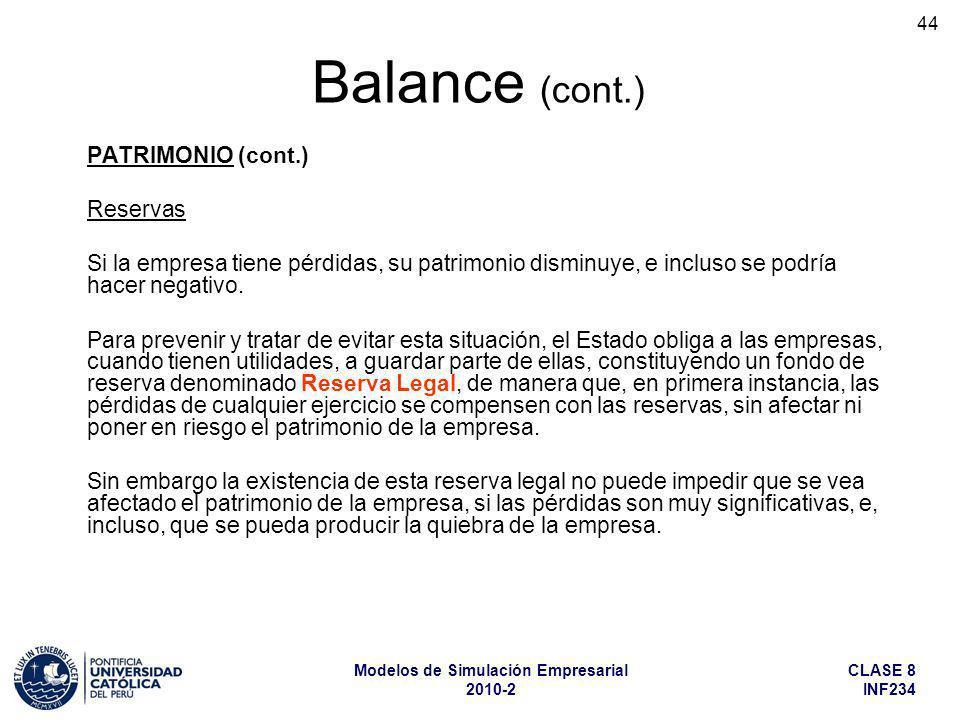 Balance (cont.) PATRIMONIO (cont.) Reservas