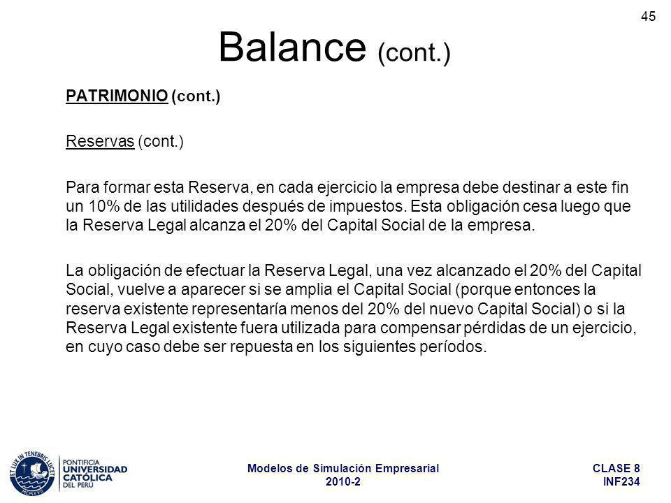 Balance (cont.) PATRIMONIO (cont.) Reservas (cont.)