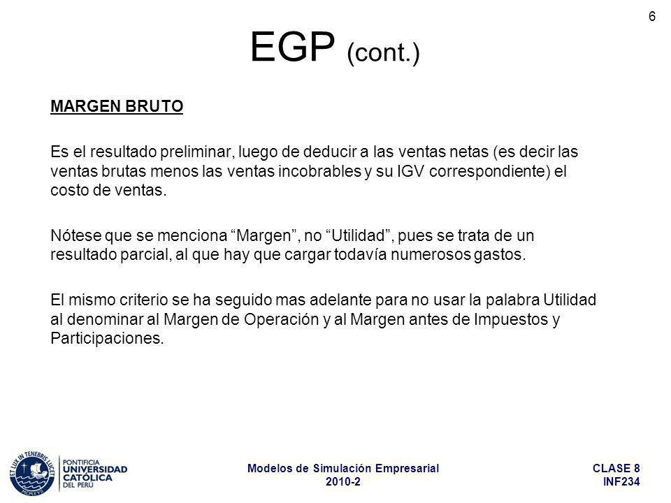 EGP (cont.) MARGEN BRUTO