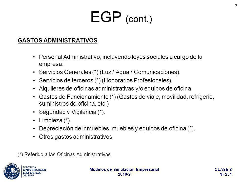 EGP (cont.) GASTOS ADMINISTRATIVOS