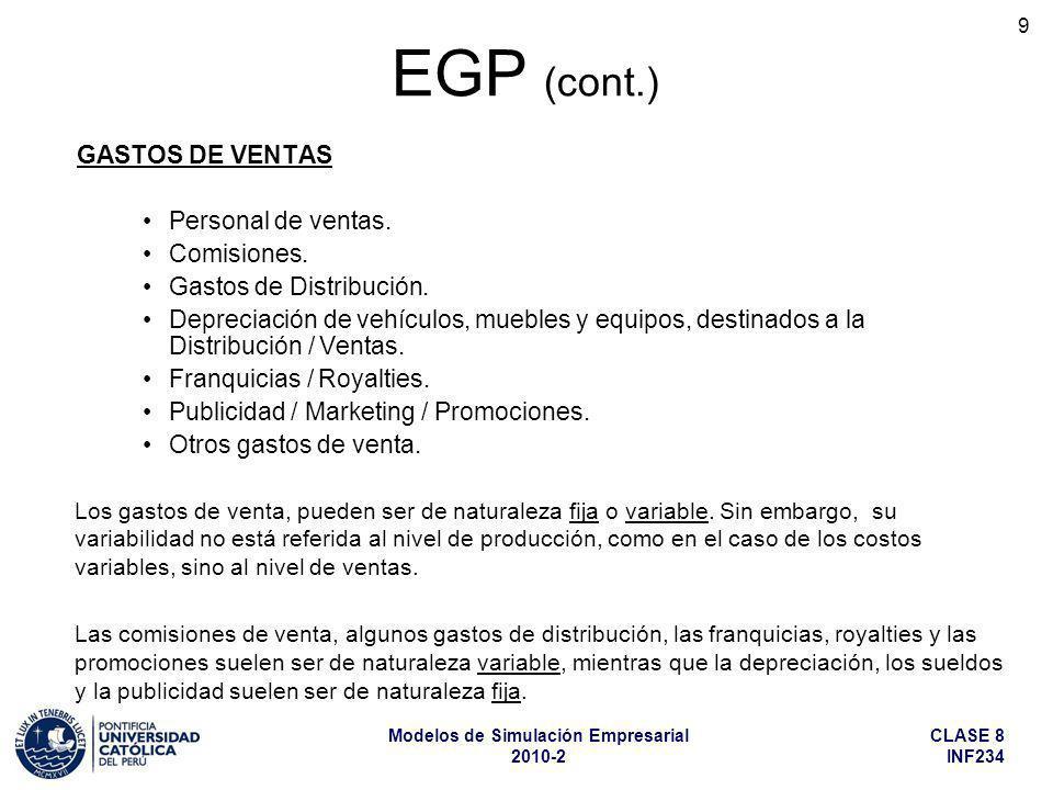 EGP (cont.) GASTOS DE VENTAS Personal de ventas. Comisiones.