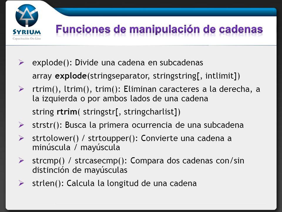 Funciones de manipulación de cadenas