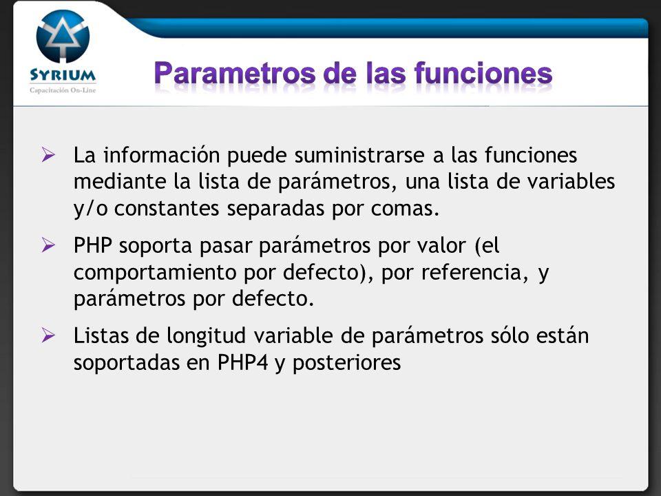 Parametros de las funciones