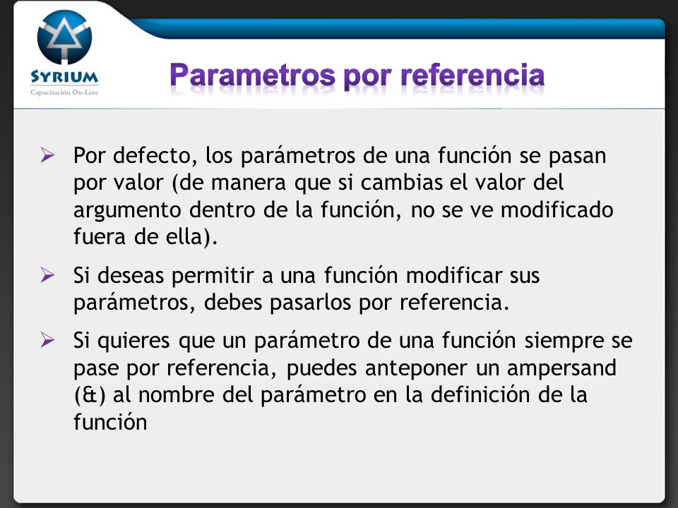 Parametros por referencia