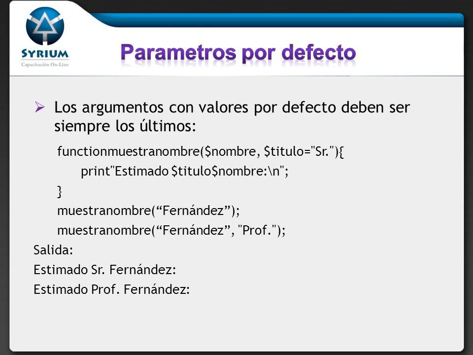 Parametros por defecto