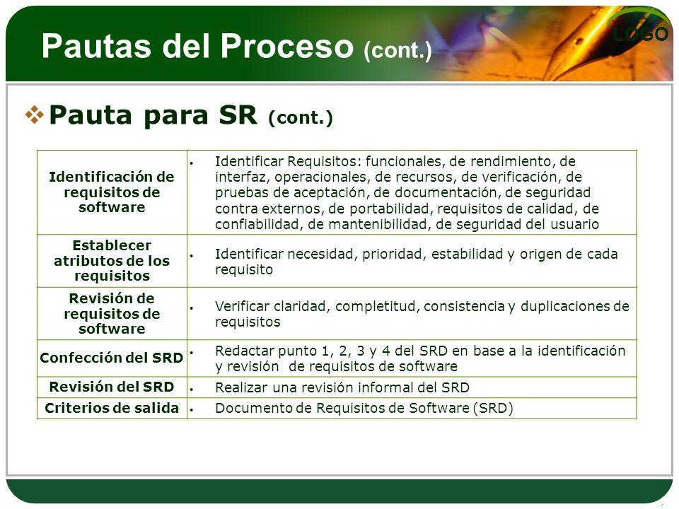 Pautas del Proceso (cont.)