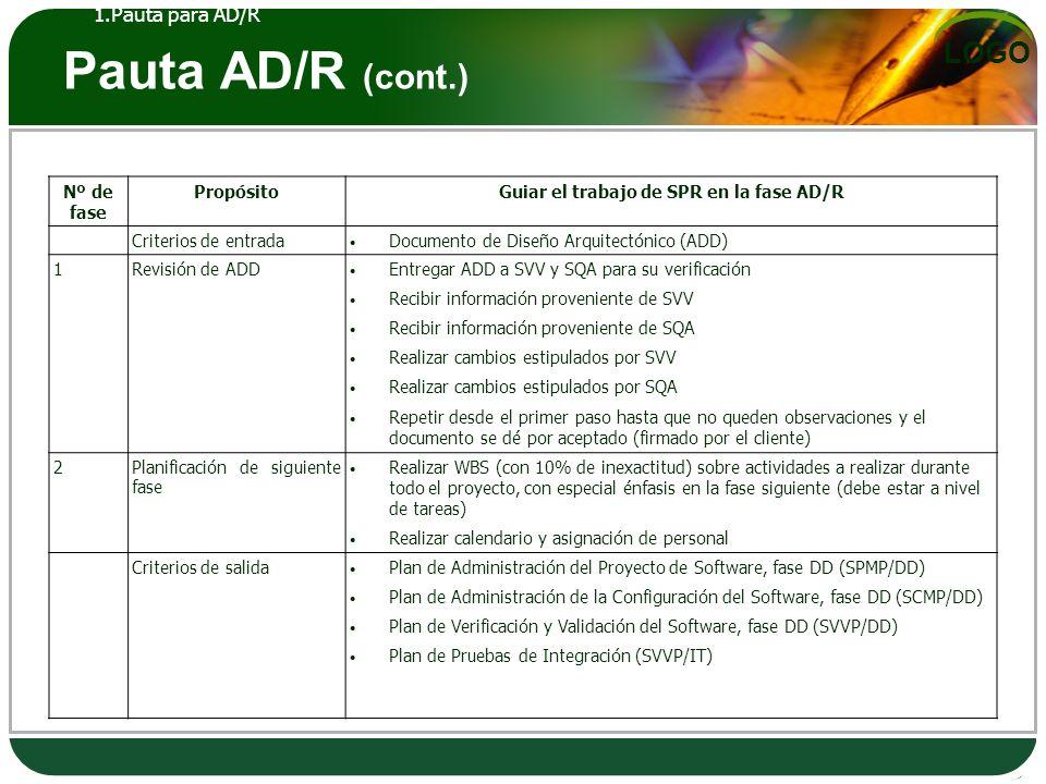 Guiar el trabajo de SPR en la fase AD/R