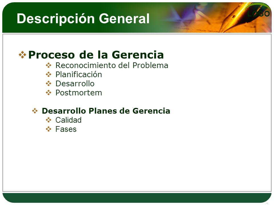 Descripción General Proceso de la Gerencia Reconocimiento del Problema