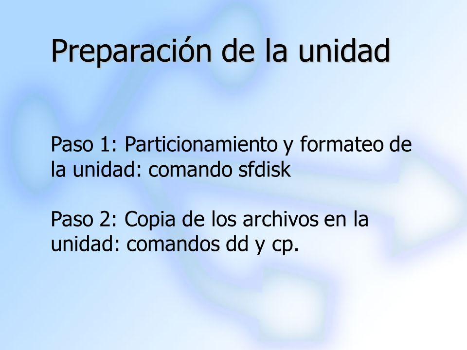 Preparación de la unidad