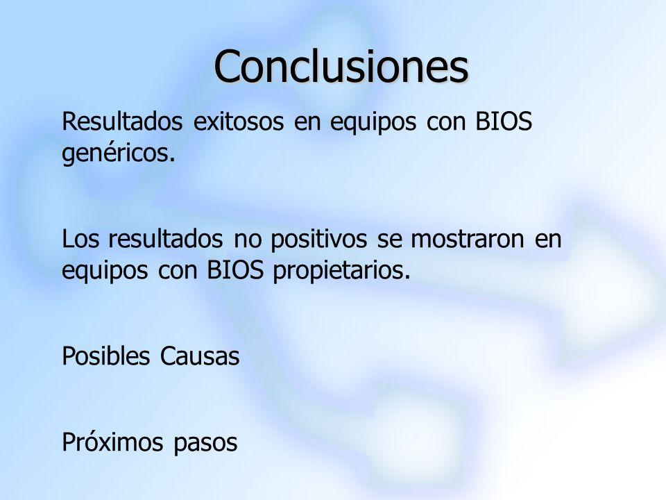 Conclusiones Resultados exitosos en equipos con BIOS genéricos.