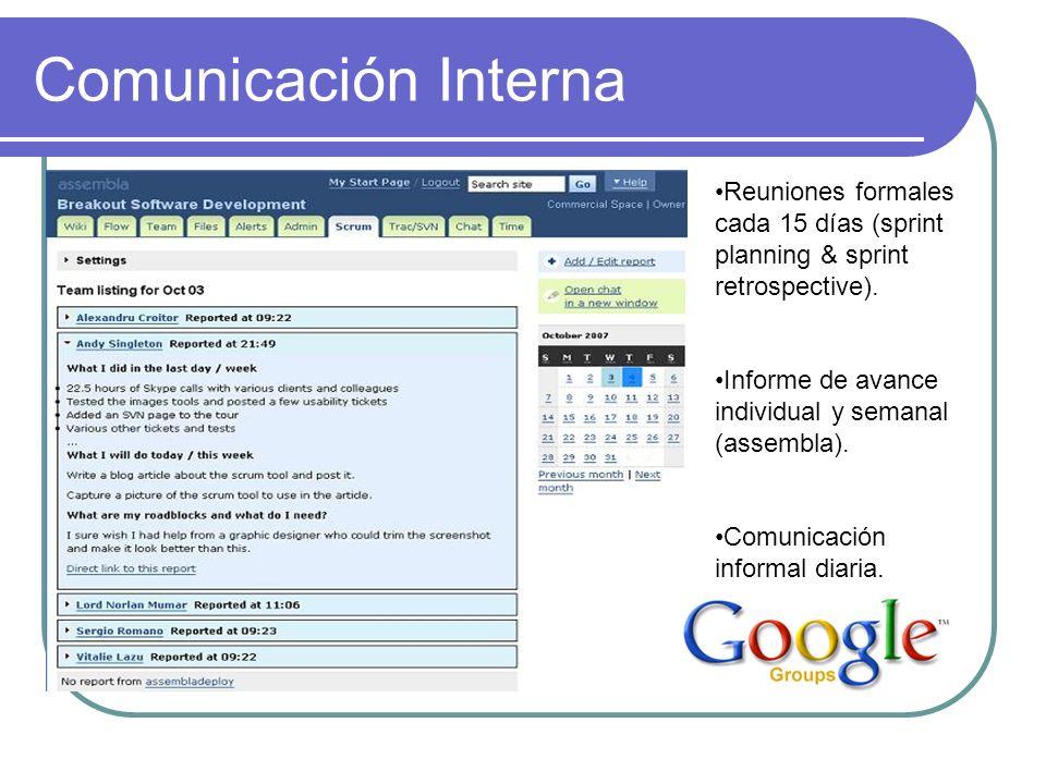 Comunicación Interna Reuniones formales cada 15 días (sprint planning & sprint retrospective). Informe de avance individual y semanal (assembla).