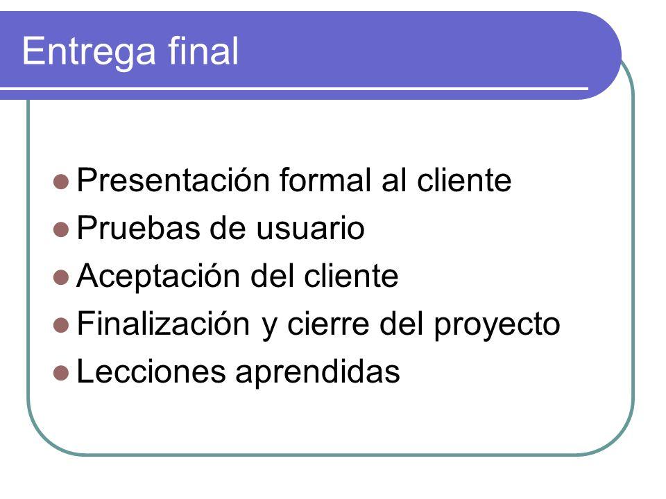 Entrega final Presentación formal al cliente Pruebas de usuario