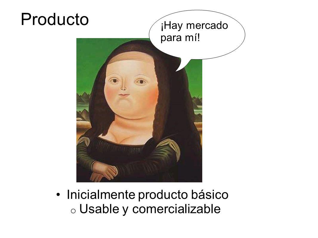 Producto Inicialmente producto básico Usable y comercializable
