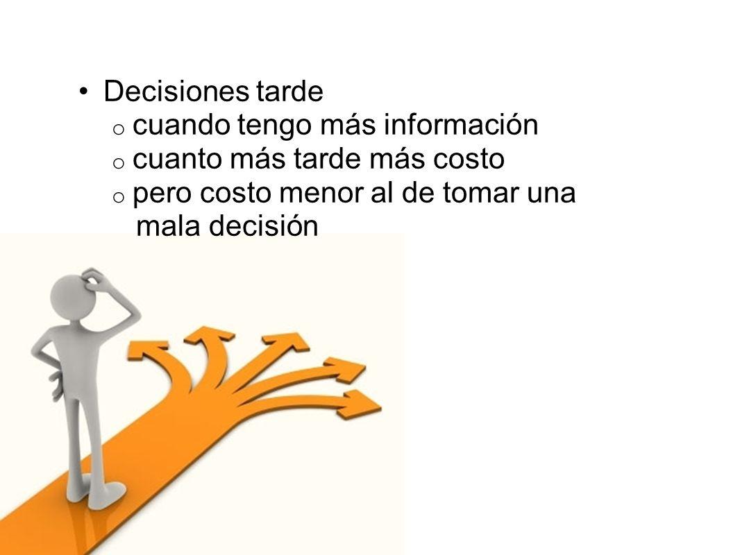 Decisiones tarde cuando tengo más información. cuanto más tarde más costo. pero costo menor al de tomar una.