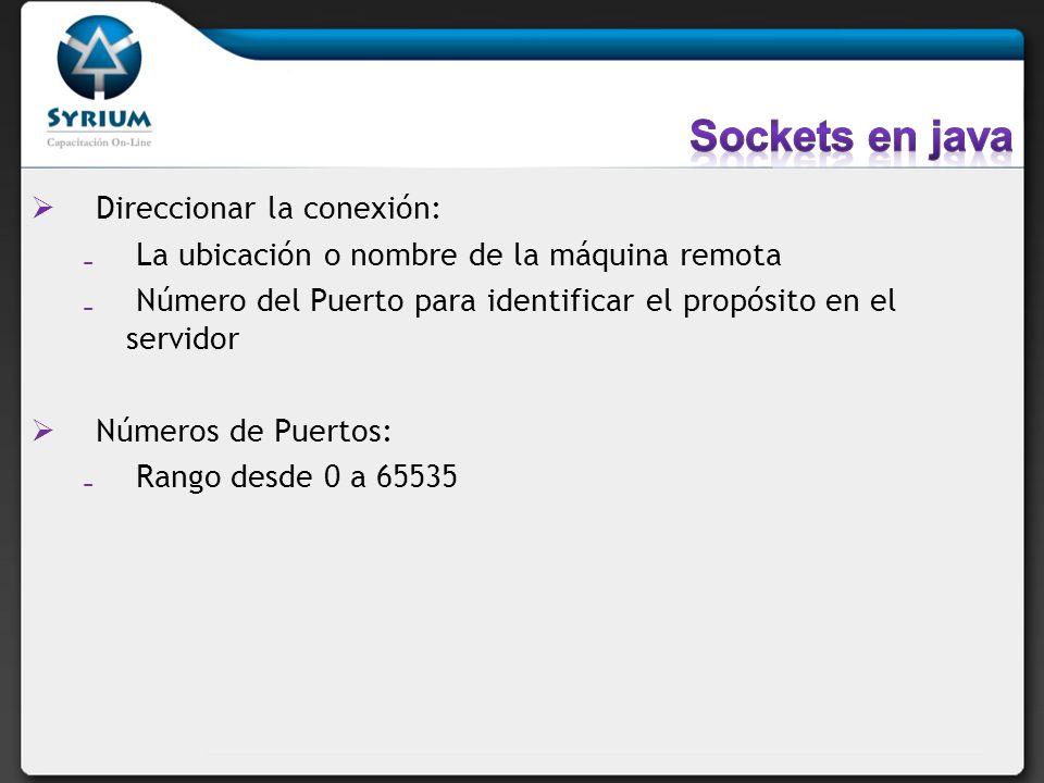 Sockets en java Direccionar la conexión: