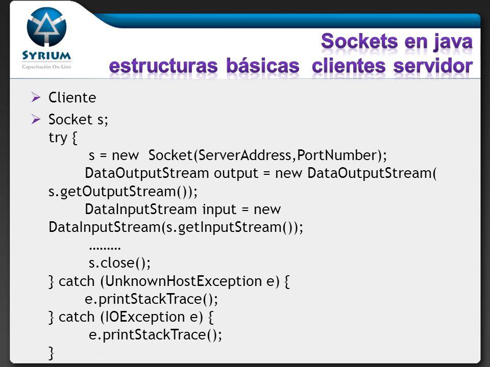 Sockets en java estructuras básicas clientes servidor