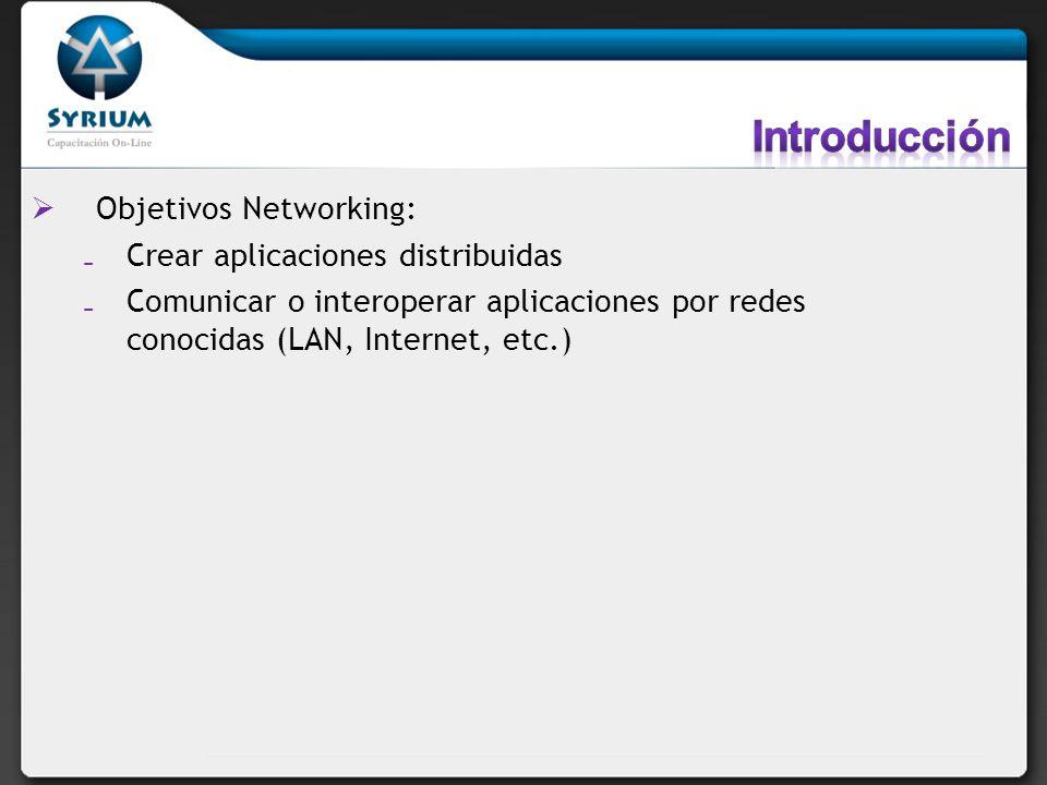 Introducción Objetivos Networking: Crear aplicaciones distribuidas