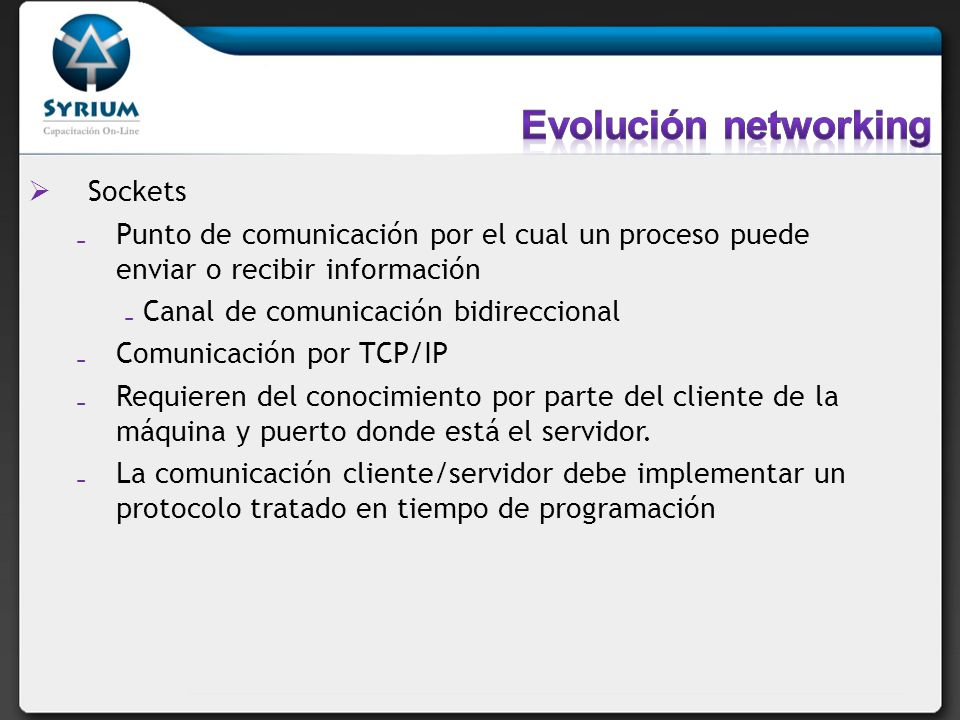 Evolución networking Sockets