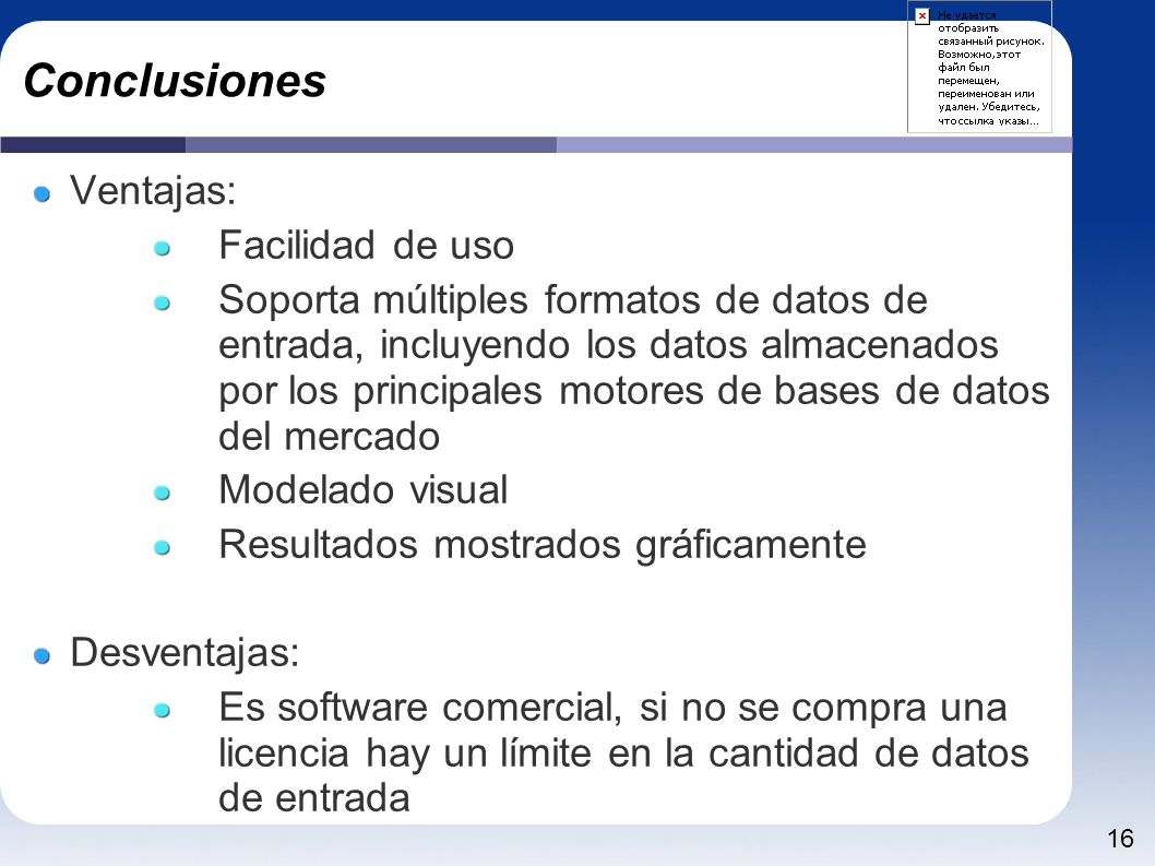Conclusiones Ventajas: Facilidad de uso