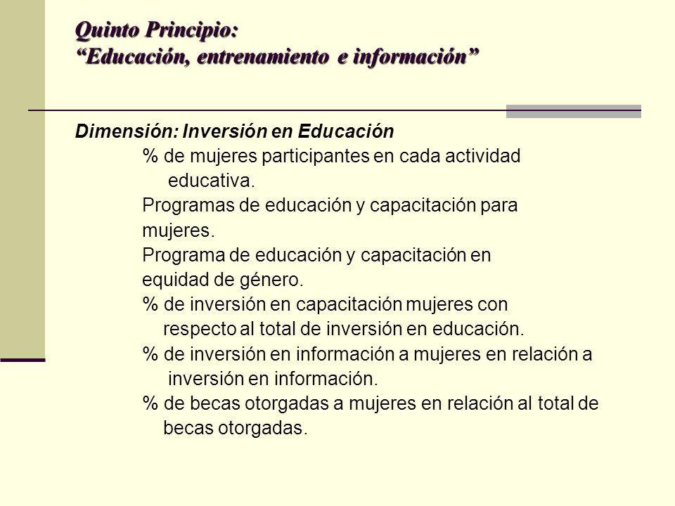 Quinto Principio: Educación, entrenamiento e información