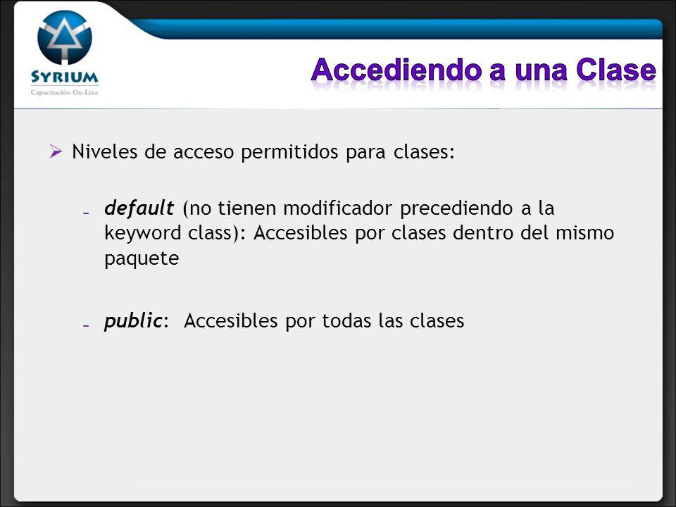 Accediendo a una Clase Niveles de acceso permitidos para clases: