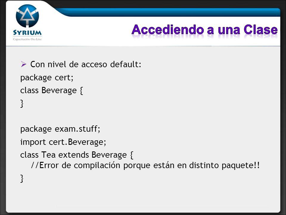 Accediendo a una Clase Con nivel de acceso default: package cert;