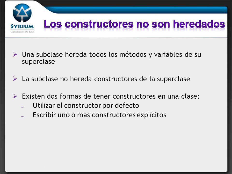 Los constructores no son heredados