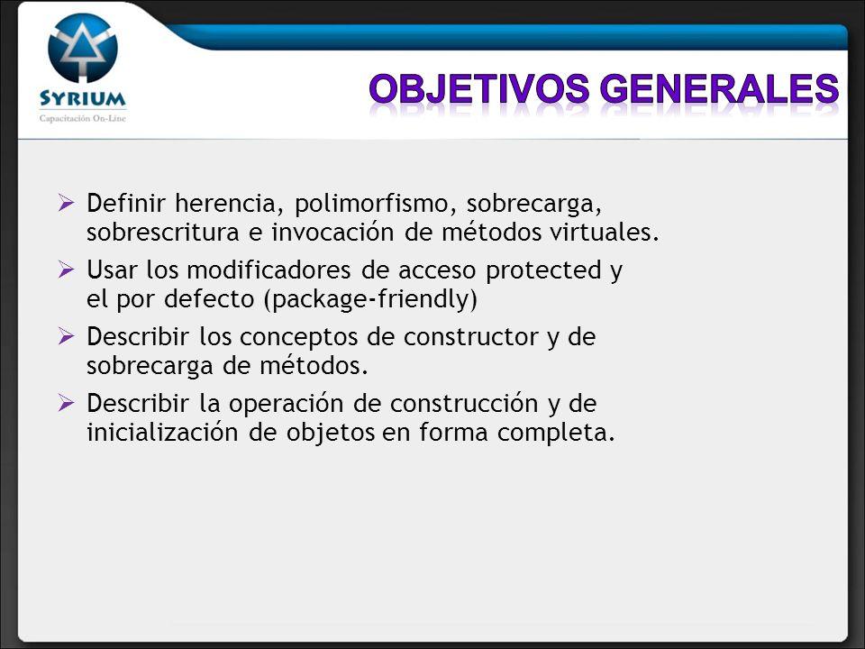 Objetivos generalesDefinir herencia, polimorfismo, sobrecarga, sobrescritura e invocación de métodos virtuales.