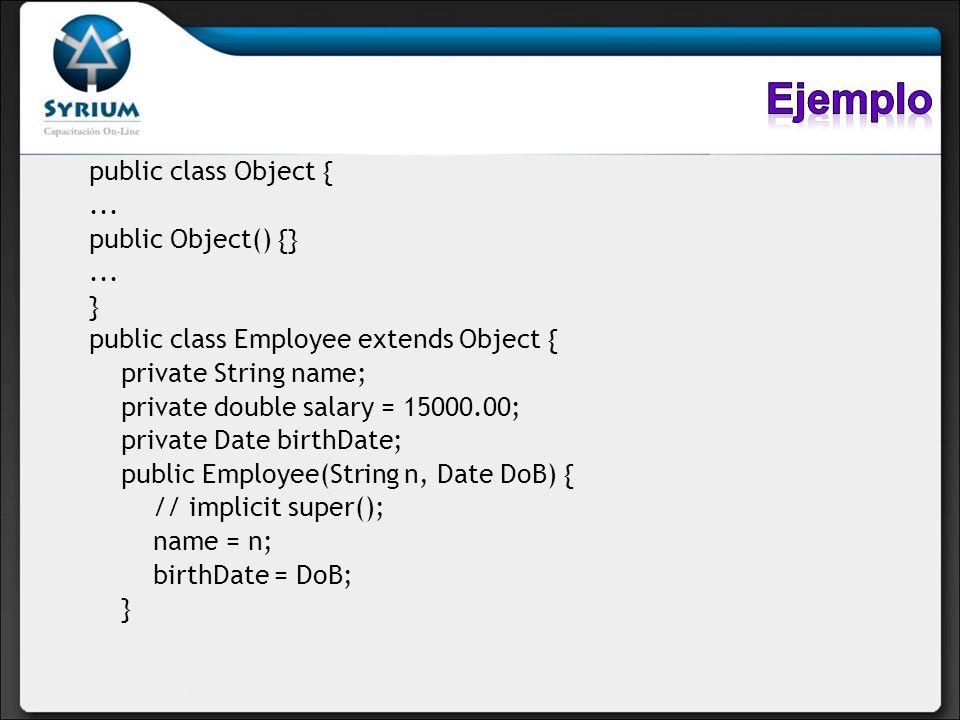 Ejemplo public class Object { ... public Object() {} }