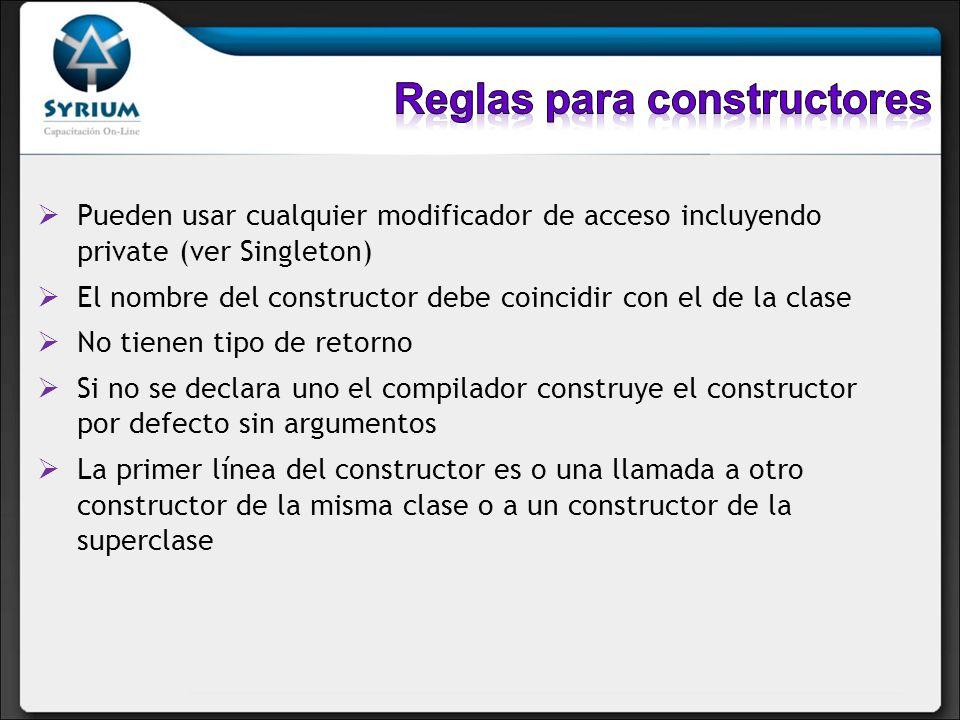 Reglas para constructores