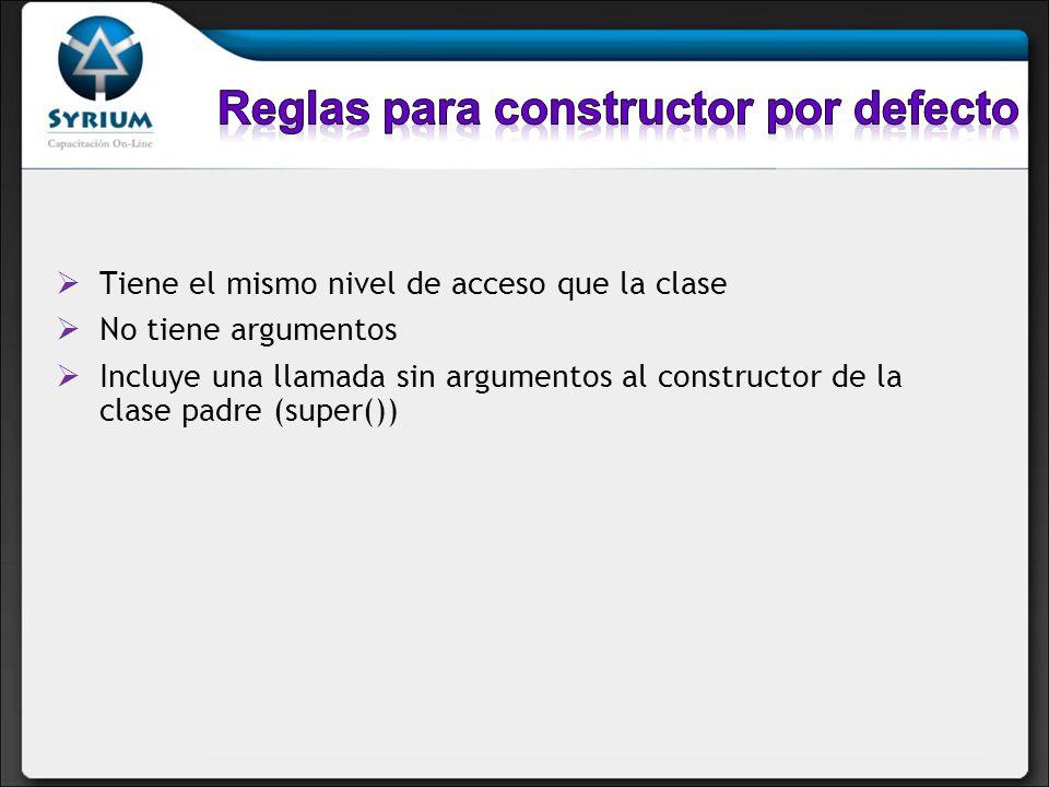 Reglas para constructor por defecto