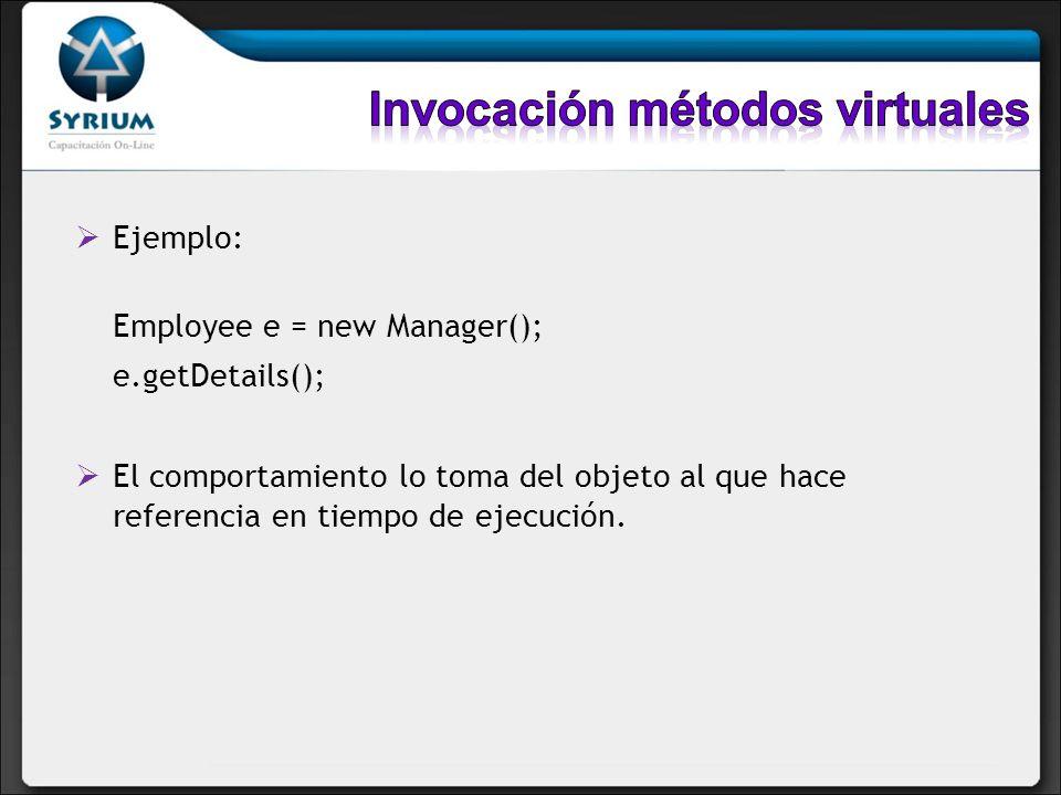 Invocación métodos virtuales