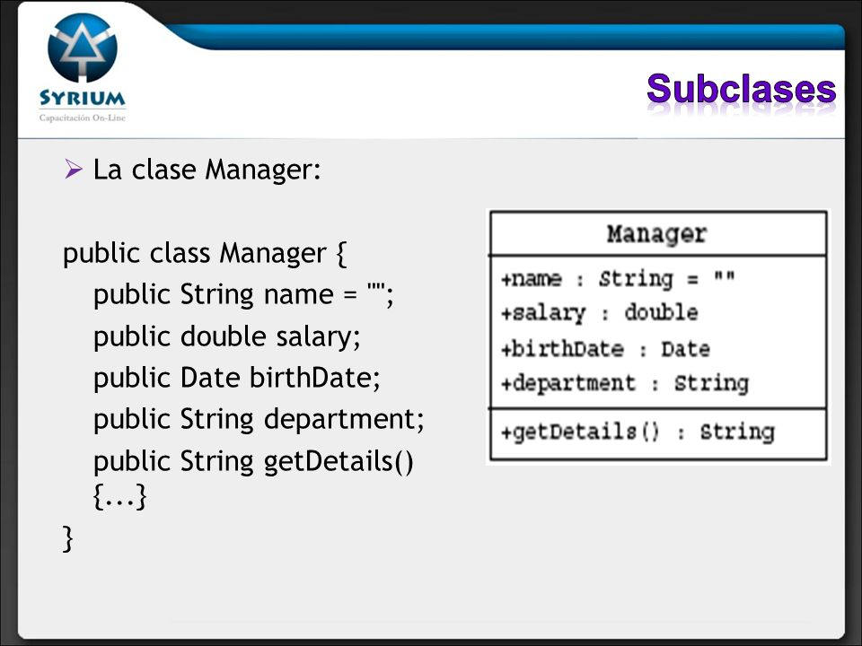 Subclases La clase Manager: public class Manager {