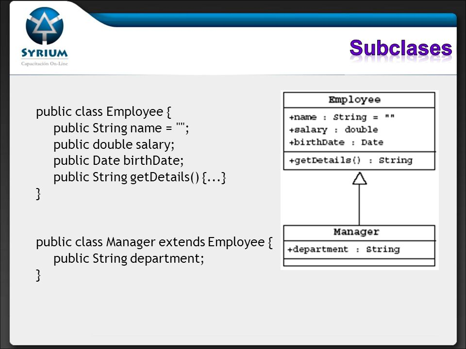 Subclases public class Employee { public String name = ;